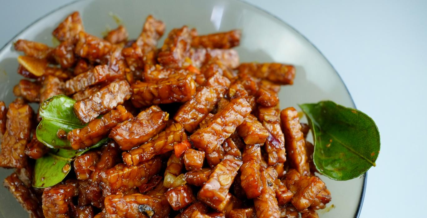 Caramelized-tempeh - Tempeh or tempe is a traditional food in Indonesia